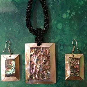 Abalone Necklace and Earrings